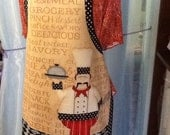 Kitchen Apron - Reversible- One Size - French Chef - In The Kitchen by Jennifer Pugh - Red, White & Black