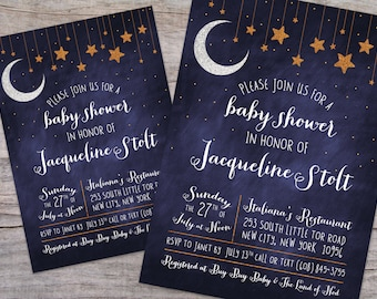 Over the Moon Starry Night Baby Shower Invitation with Free Shipping or DIY Printable