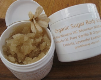 Organic Sugar Body Scrub, Raw Honey Organic Sugar Scrub