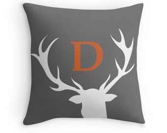 Monogram Throw Pillow - Woodland Nursery Decor - Deer Pillow - Antler Pillow