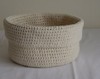 Hand Made Crochet Storage Basket Pot Bits & Pieces Bathroom Living Room
