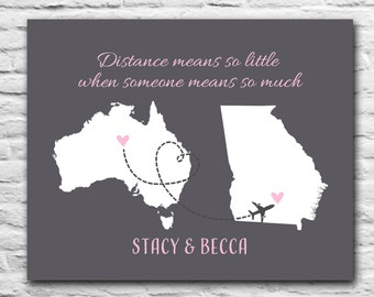 Distance Means So Little When Someone Means So Much Personalized Best Friend Gift Print Custom Australia Map Long Distance Friendship