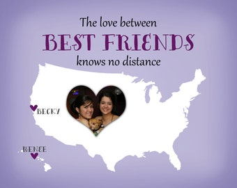 The Love Between Best Friends Knows No Distance - Bridesmaid, Sister, Long Distance, Custom Personalized Gift Ideas, Birthday, Maid of Honor