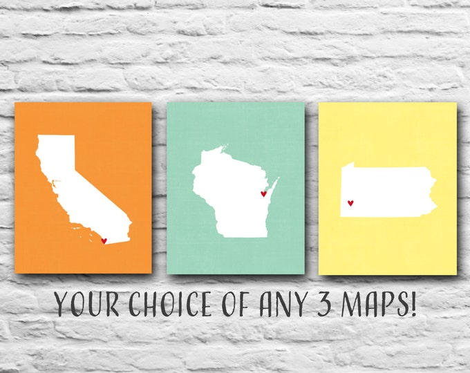 Set Of 3, You Choose, Three 8x10 States Map Personalized Map Military, Where We've Lived, Family Gift - California, Wisconsin, Pennsylvania