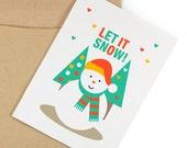 "DIY Digital Christmas card printable - Let it snow! instant download // 5""x7"""