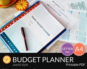 BUDGET PLANNER Printable. A4. Letter Size. Financial Binder. Bills, Savings and Expenses tracker. Daily, Monthly, Yearly Budget. 7 docs