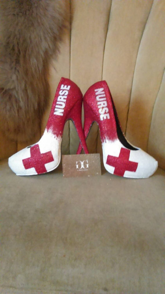 Custom made to order heels sizes 5.5-11. Red cross heels.