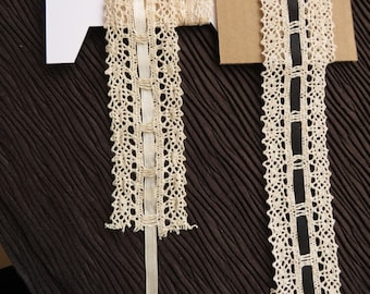 Cotton lace edge trimming, cream with satin ribbon (cream or black), 4.5cm width,  sold by the metre