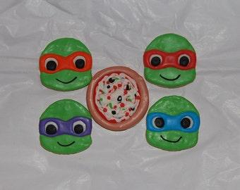 ninja turtle and pizza cookies