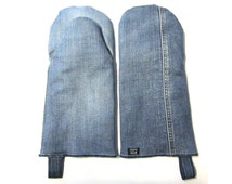 Oven Glove of recycled jeans, blue