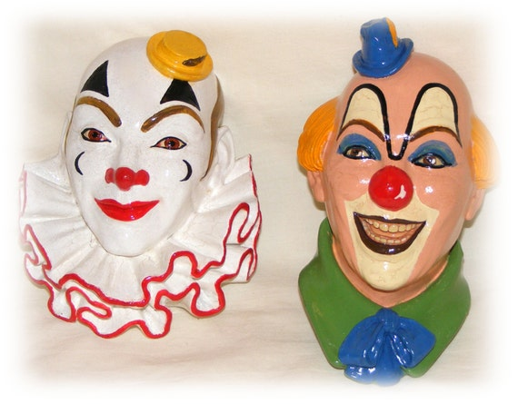 "Vintage CERAMIC CLOWN HEADS ""Price Reduced"" Gorgeous"