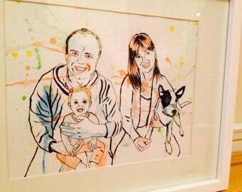 "Custom FAMILY PORTRAIT, 8.5x11"" (A4) custom family illustration, custom portrait, anniversary gift, birthday gift, wedding gift, christmas,"