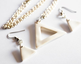 White Triangle Shaped Porcelain Earring Pendant/Necklace Set