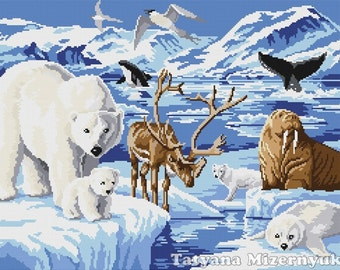 "Cross stitch pattern ""Animals of the Arctic"""