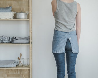 Linen cafe apron. Swedish blue washed natural, eco - friendly, handmade linen cafe apron