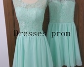 2016 cute mint Chiffon homecoming dress with Lace,short stunning prom dresses under 50,cheap chic women gowns for holiday party hot.
