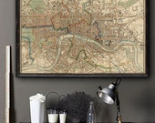 "Map of London 1846, Large old London map, 4 sizes up to 54x36"" (140x90 cm) Rare Victorian map of London, England - Limited Edition of 100"