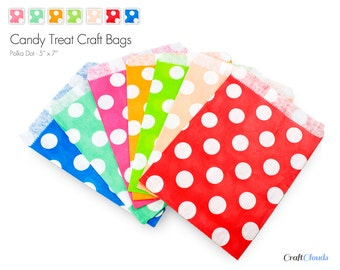 """25 Polka Dot Style Candy Treat Craft Bags - 5"""" x 7"""""""