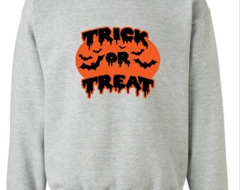 Trick Or Treat Ladies AND Men Crewneck Sweatshirt. Halloween Sweater Trick Or Treat Halloween Shirt. Jack O Lantern. Happy Halloween Sweater