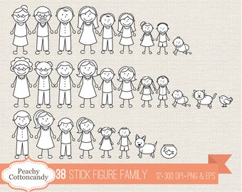 BUY 2 GET 1 FREE 38 Stick Figure Family clipart - stick figure clip art - Personal and Commercial Use