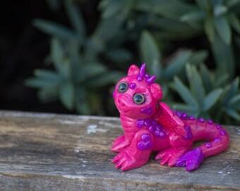 Pink Cutesy Dragon handmade polymer clay figure OOAK