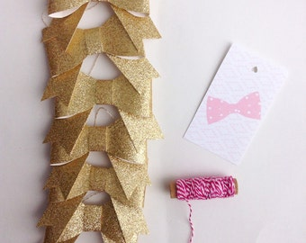 Gold Glitter Bow Garland, bow garland, bow party, bow decor