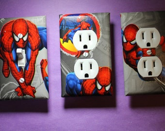 Spiderman 3 piece Light Switch Plate and Socket Cover set boys girls childs room home decor Marvel outlet