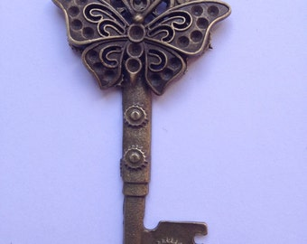 Bronze Butterfly Gear Key Pendant Necklace