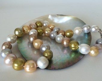 Multicolored Freshwater Pearl Necklace with Sterling Clasp