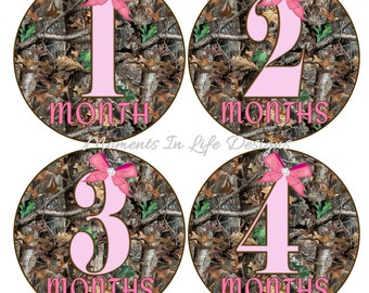 Camo and Pink Baby Monthly Milestone Sticker Set and Add-On Just Born Set