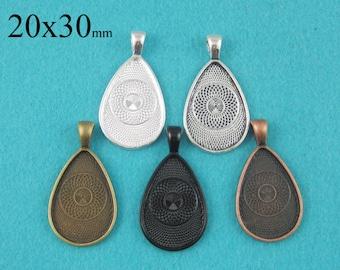 25 Pieces 20x30mm Teardrop Pendant Tray, Bezel Pendant, Teardrop Cabochon Settings  - Silver, Bronze, Copper, Antique Silver, Black