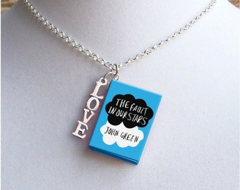 The Fault In Our Stars with LOVE Charm - Miniature Book Necklace