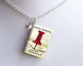 Paper Towns with Tiny Heart Charm - Miniature Book Necklace