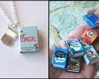Fangirl with Tiny Laptop Charm -Micro Mini Book Necklace