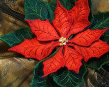 Embroidered Flower Brooch Poinsettia /Christmas Star and Christmas Flower