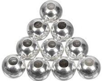 Bright Silver Round Metal Beads - 8mm