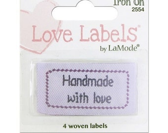 Handmade With Love Garment Labels Iron On or Sew Package of 4