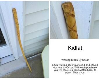 Beautifully Carved Walking Stick: Kidlat