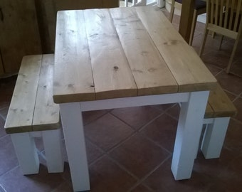 Handmade Rustic Kitchen Table & Bench Set 054