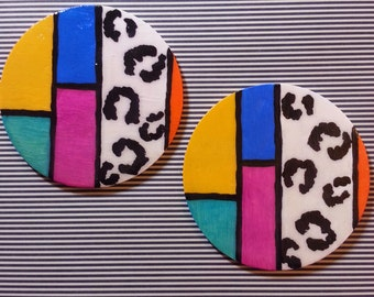 Color Block Leopard Earrings