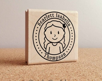Personalized Rubber Stamp for Girls, Custom Childrens Name Rubber Stamp - Choose Hairstyle and Accessories