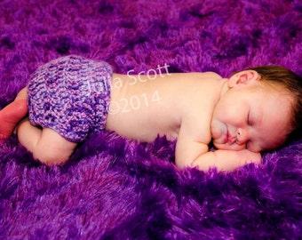 Purple Diaper Cover - Crochet - Baby
