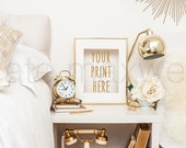 White Nightstand with Gold Frame, Alarm Clock, & Garden Roses / Portrait / Styled Stock Photography / Product Mockup / High Res File #517