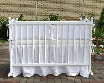 Snow white natural linen crib bedding set /// Crib bedding, Nursery bedding, Cot bedding, Baby bedding, Bumper and skirt