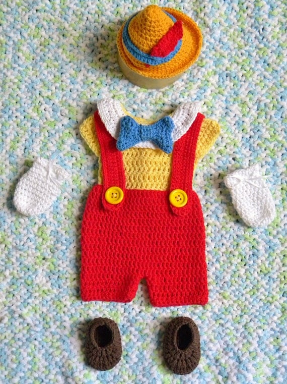 Disney 39 s pinocchio inspired baby boy outfit or costume for Pinocchio hat template