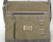 """The """"Two Pocket Messenger"""" - A Medium Canvas Concealed Carry Messenger -  Room for a Large Tablet - Semi Auto or Revolver"""