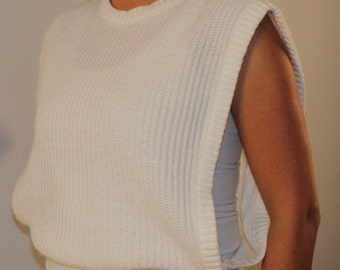 Vintage vest open side ribbed sweater  off white beige 1980s 80s small medium