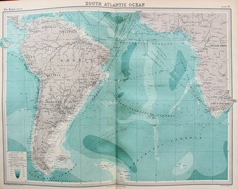 Huge 1922 Antique Map, South Atlantic Ocean, Communications, Trade Routes, Steamers