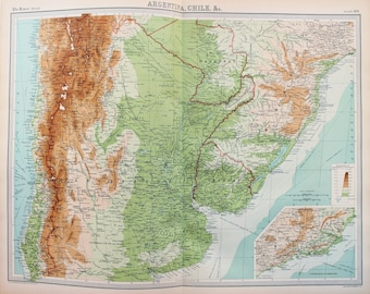 Huge 1922 Antique Map, South America, Argentina, Chile
