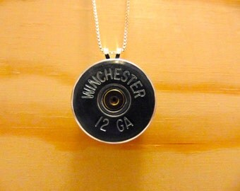 "Shotgun Shell Pendant with Sterling Silver 24"" Chain"